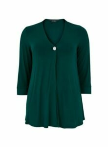 Green Diamante Button Detail Top, Green