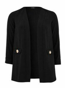 Black Button Detail Blazer, Black