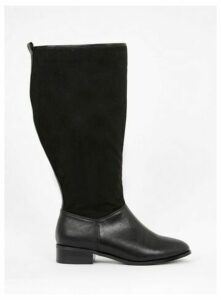 Extra Wide Fit Black Contrast Knee High Boots, Black