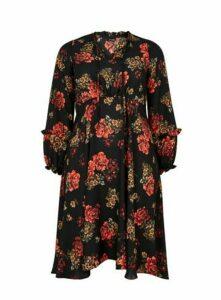 Black Floral Tie Neck Midi Dress, Black