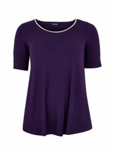 Purple Diamante Neck Detail T-Shirt, Purple
