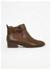 Extra Wide Fit Brown Strap Ankle Boots, Brown