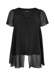 Black Polka Dot Split Front Blouse, Black