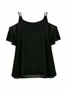 Black Pearl Cold Shoulder Top, Black