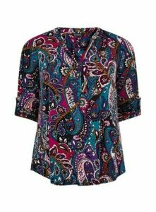 Purple Paisley Jersey Shirt, Purple