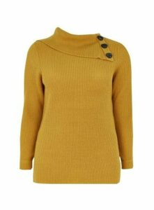 Yellow Split Neck Button Detail Jumper, Yellow