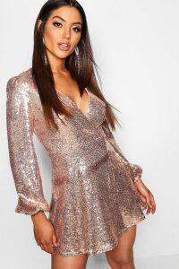 Womens Sequin Long Sleeve Wrap Skater Dress - pink - 8, Pink