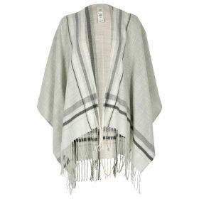 River Island Womens Grey check tassel knitted cape