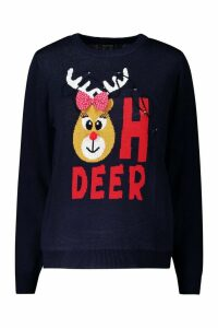 Womens Christmas Flashing Light Deer Jumper - navy - M, Navy