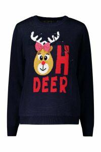 Womens Christmas Flashing Light Deer Jumper - navy - M, Navy