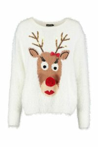 Womens Reindeer Fluffy Knit Christmas Jumper - white - M, White