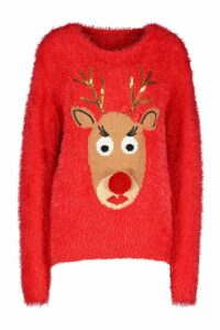 Womens Reindeer Fluffy Knit Christmas Jumper - red - M, Red