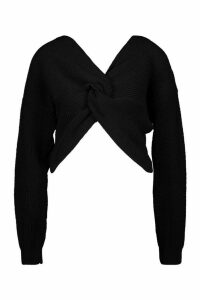 Womens Crop Twist Jumper - Black - M/L, Black
