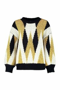 Womens Premium Metallic Tinsel Knitted Jumper - metallics - M/L, Metallics