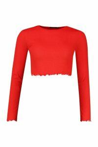 Womens Lettuce Hem Contrast Long Sleeve Rib Top - Red - 8, Red