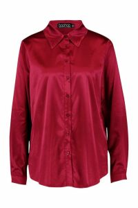 Womens Satin Oversized Shirt - brown - 8, Brown