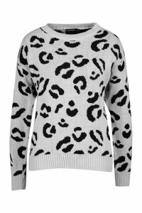 Womens Leopard Knitted Jumper - silver grey - M, Silver Grey