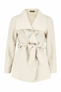 Womens Belted Waterfall Faux Fur Teddy Coat - beige - L, Beige
