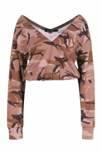 Womens Camo Cropped Sweatshirt - beige - L, Beige