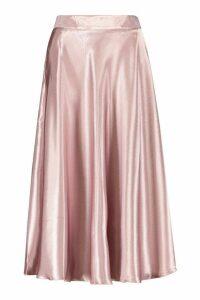 Womens Satin Full Midi Skirt - Purple - 8, Purple