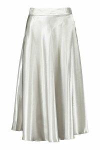 Womens Satin Full Midi Skirt - tan - 12, Tan