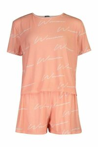 Womens Woman Script Top & Short Pyjama Set - pink - 16, Pink