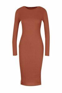 Womens Petite Jumbo Rib Long Sleeve Midi Dress - brown - 8, Brown