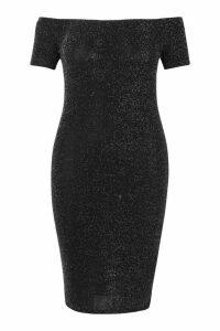 Womens Plus Shimmer Glitter Off The Shoulder Midi Dress - grey - 24, Grey