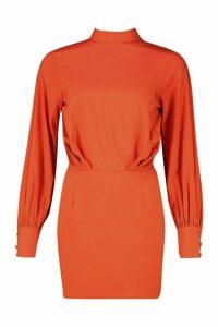 Womens Petite High Neck Draped Mini Dress - orange - 14, Orange