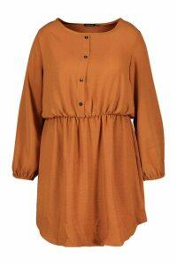 Womens Plus Linen Button Down Smock Dress - brown - 20, Brown