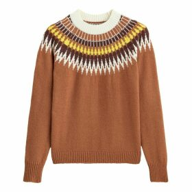 Crew Neck Jacquard Jumper in Fair Isle Pattern