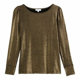 Metallic Knit T-Shirt with Long Sleeves