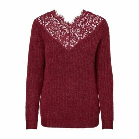 Laced V-Neck Jumper in Fine Knit