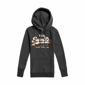 Metalwork Entry Vintage Slip-On Hoodie in Cotton Mix with Logo Print and Pocket