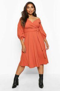 Womens Plus Off Shoulder Wrap Midi Dress - Orange - 20, Orange