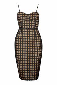 Womens Check Mesh Cupped Midi Dress - Black - 8, Black