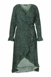 Womens Plus Polka Dot Ruffle Wrap Midi Dress - green - 20, Green