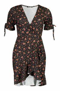 Womens Ditsy Floral Wrap Ruffle Tea Dress - Black - 10, Black