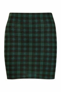 Womens Tartan Check Jersey Mini Skirt - green - 16, Green