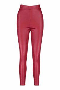 Womens High Waist Wet Look Leggings - Red - 14, Red