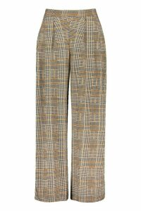 Womens Dogtooth Pleat Front Wide Leg Trousers - black - 14, Black
