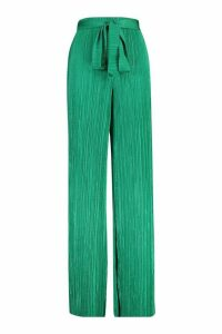 Womens Plisse Tie waist Wide Leg Trousers - green - 16, Green