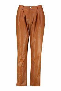 Womens Pin Tuck Tailored Leather Look Ankle Grazer - brown - 10, Brown