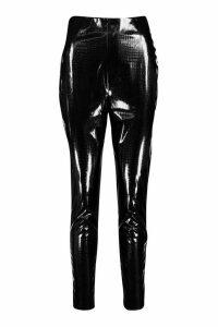 Womens Croc Vinyl High Waist Leggings - black - 16, Black