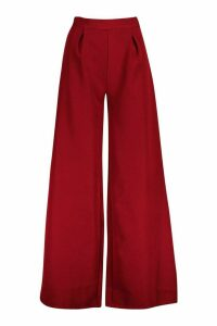 Womens Pleat Detail Wide Leg Trouser - Red - 8, Red