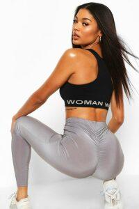 Womens Ruched Bum Booty Boosting Gym Leggings - Grey - 12, Grey