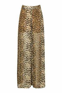 Womens Leopard Print Chiffon Wide Leg Trouser - brown - 8, Brown
