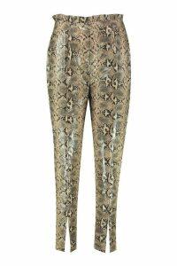 Womens Split Leg Snake PU Trouser - beige - 12, Beige