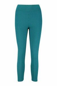 Womens Petite Jumbo Rib Leggings - Green - 4, Green