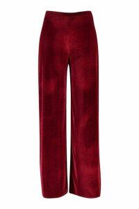 Womens Plus Velvet Wide Leg Trousers - red - 20, Red